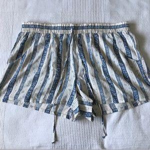 Blue & White Patterned Drawstring Shorts